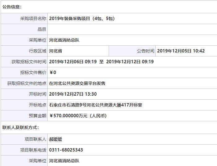 河北省消防救援总队2019年装备采购项目(第4包)二次招标公告_中国消防网