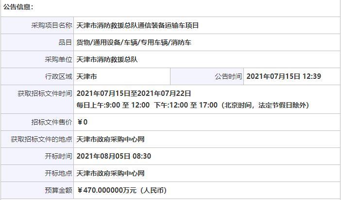 天津市消防救援总队通信装备运输车项目公开招标公告_中国消防网